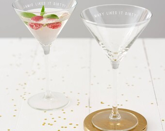 Personalised 'Likes It Dirty!' Martini Glass
