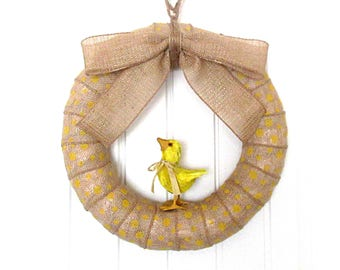 14-Inch Lil' Chick Wreath - Yellow Polka Dot Burlap Wreath - Spring/Summer Burlap Wreath