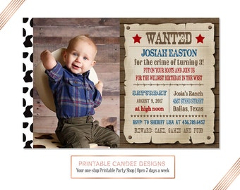 Cowboy Birthday Invitation, Wanted Invite, Western Party, Blue and Red Cowboy Invite, Printable DIY Photo Card