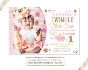 Twinkle Twinkle Little Star First Birthday Invitation, Pink and Gold Glitter Invitation, Star Birthday