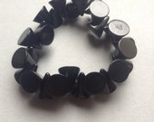 Black Cones Sobral Jackie Brazil Resin Bangle Stretch Bracelet, designer signed, black resin cone beads, stretch bracelet, egst, Greece
