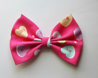 SALE - Candy Hearts Valentine's Day Hair Bow - Hot Pink & Candy Heart Pattern Hair Bow with Clip