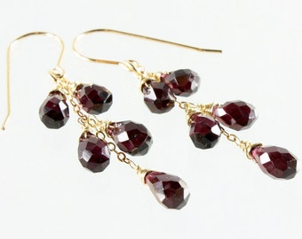 Garnet earrings, Gold filled earrings, deep red gemstone earrings, fine earrings, cluster earrings, January birthstone, gift for her, 3238