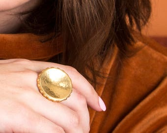 Gold Convex Ring / large dapped circle statement ring with orb pattern / textured metalwork jewelry