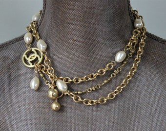 Iconic Designer Button Necklace long to short, mixed multi chain & Vintage Pearl Necklace Designer Button, Antique Button Jewelry veryDonna