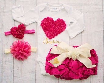 Baby Valentines Day Outfit, Baby Girl Clothing, Girls Valentines Day Clothing, Personalize Valentines Bodysuit, Baby's 1st Valentines Outfit