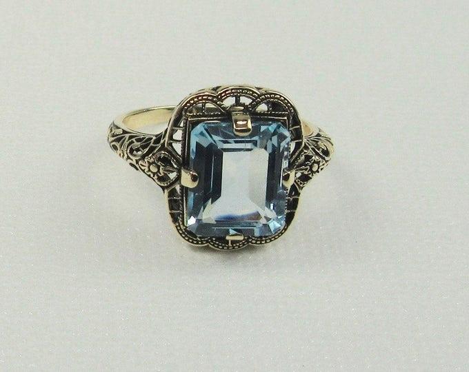 Filigree Blue Topaz Ring; Yellow Gold Filigree Ring; Blue Topaz Ring; Topaz Ring; Topaz Filigree Ring; Emerald Cut Blue Topaz Ring