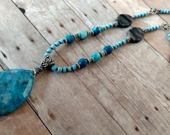 Blue Agate necklace - blue necklace - boho long necklace - boho jewelry - marble necklace - gemstone necklace - blue jewelry - gifts for her