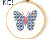 Modern Cross Stitch Kit, Patterned butterfly in Blue, Pink, and Yellow, DIY Kit, Embroidery Kit