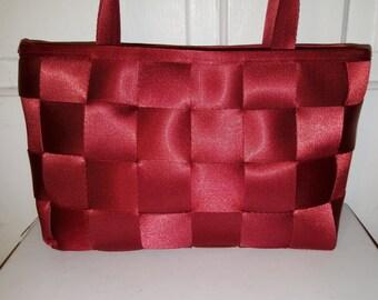 CRIMSON RED SEATBELT Purse // Recycled Upcycled Custom Tote Bag Basket Woven Shoulder Bag Car Seat Belt