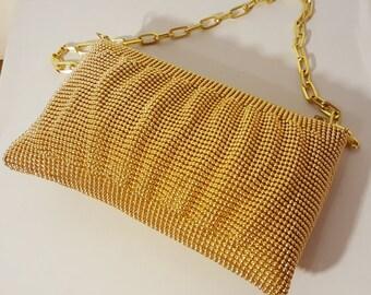 GOLD MESH PURSE // La Regale Metal Mesh Bead Purse Evening Bag Chain Link Disco Studio 54 Shoulder Bag Wedding