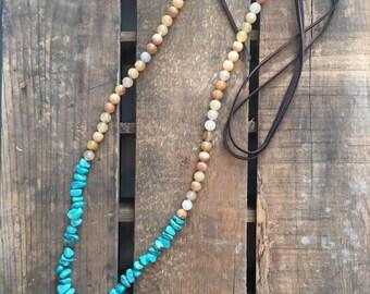 SALE-Rustic Western Boho Necklace with Arrowhead, Turquoise, Multi Quartz, Fringe, Leather Necklace