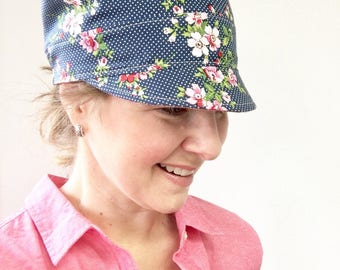 Summer Floral Newsboy Hat, Spring Newsboy Hat, Women's Newsboy Hat, Reversible Cap, Floral Fabric Hat, Linen Hat for Women, Woman's Hat