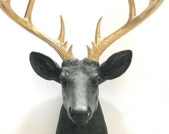 Matte BLACK GOLD XL Deer Head wall mount Faux Taxidermy wall hanging stag faux animal head / faux taxidermie / woodland decor  office wall