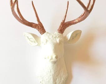 Faux Taxidermy Deer Head Wall Mount Wall Hanging Wall Decor Stag Head wall mount in WHITE with LIGHT BRONZE Deerman the Deer Head