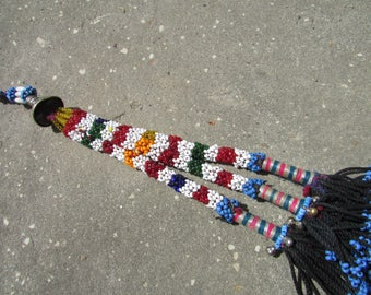 DIY Long Beaded Tribal Tassel,Swag,Purse Embellishment,ATS ,Costume Accent