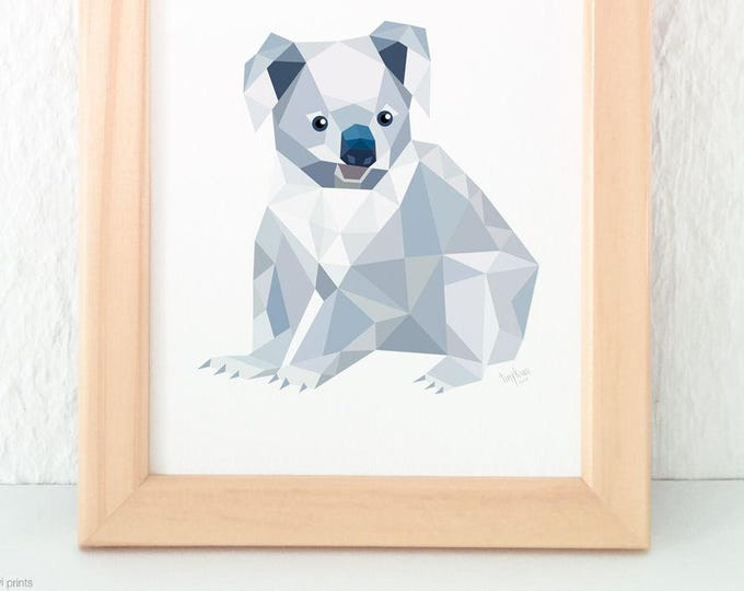 Koala bear print, Bear art, Australian art, Australian animal, Australian Wildlife, Koala illustration, Koala wall art, Grey animal wall art