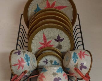 Vintage Ohio Art Tin Litho Dishes and Cups --Gold, Pink, White and Blue Leaf Pattern -- 12 Pieces, Midcentury, for Play or Display