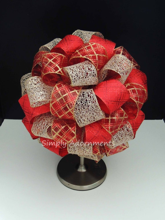 Whimsical Red Gold Plaid Christmas Bow Glitter Red Gold Tartan Christmas Tree Bow Christmas Plaid Tree Topper Bow Xlarge Christmas Gifts Bow