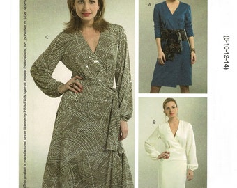 McCalls M5179 Wrap Dress Sewing Patterns Misses Fitted Wrap Dress, Womens Size 8 10 12 14, Bust 31 thru 36, UNCUT, Sew News M 5179