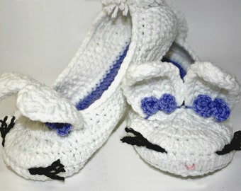 Adult Bunny Slippers - Cozy Slippers - House Shoes - Warm Slippers - Adult Slippers - Hand Knit Slippers - Crochet Slippers