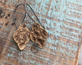Bronze feather & lace earrings