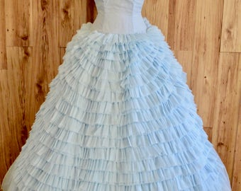 1950s Baby Blue Strapless Ball Gown, Fifties Tiered Ruffle Prom Dress w/ Petticoat, Cinderella Style Blue Gown, Sweetheart Neckline Formal