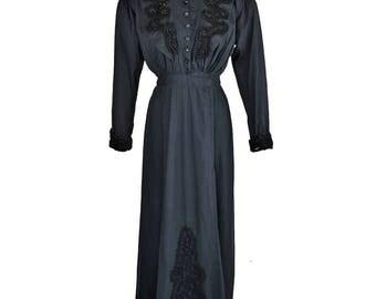 Antique Edwardian Dress // Amazing Soutache // Black // S/M