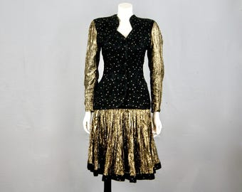CHRISTINA STAMBOLIAN Princess Diana's 'Revenge Dress' Couturier, A Vintage 1980s Gold Lame & Silk Skirt And Blouse