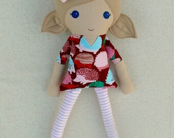 Fabric Doll Rag Doll Light Brown Haired Girl in Pink and Maroon Hedgehog Print Dress