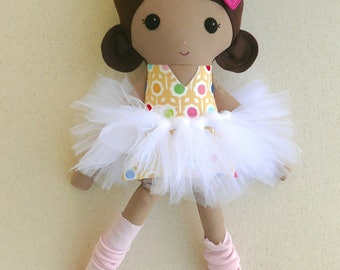 Fabric Doll Rag Doll Brown Haired Girl in Yellow and Pink Floral Dress with White Tutu and Pink Leg Warmers