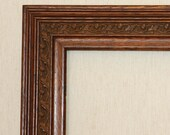 Antique Solid Oak Large Picture Frame, Decorative Embossed Panel with Leaves & Acorns, Ridged Edges c.1910, Sturdy and Solid
