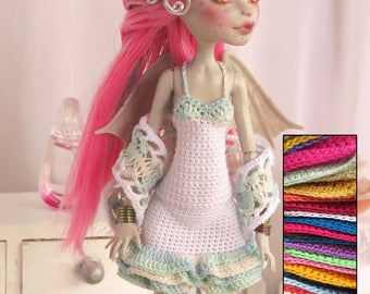 Monster High Crochet Lace Dress with Shawl Custom Colors | Monster High  Clothes  | Doll Clothes |Moster High Custom Dress |  MH Style 1