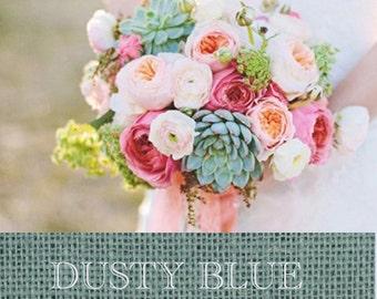 Burlap  Table Runner Color: Dusty Blue