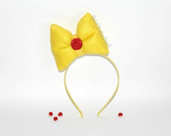 Belle Bow // Big Yellow Bow // Red Rose Bow // by Born TuTu Rock
