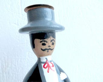 Vintage Candle Holder Gentleman In Suit Man In Black Old Wooden Candleholder Vintage 80s