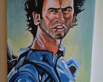 Army of Darkness Bruce Campbell Fine Art  Original Painting  Evil Dead Ash
