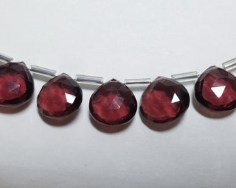 Raspberry Garnet Hydro Quartz Micro Faceted Heart Briolette Beads Strand 10mm - 12mm