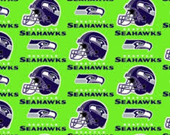 NFL Fabric, Seattle Seahawks Football, Lime Green Cotton Broadcloth Fabric - By the Half Yard