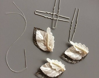 Patti Leaf hairpins in Ivory and Silver