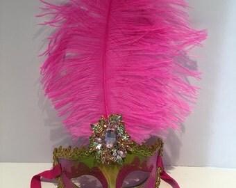 Mardi Gras Mask- Hot Pink Mask -Women's Mask-Masq- Masquerade Ball Mask -Costume Party Mask- Carnival Ball -Masquerade -Halloween Mask