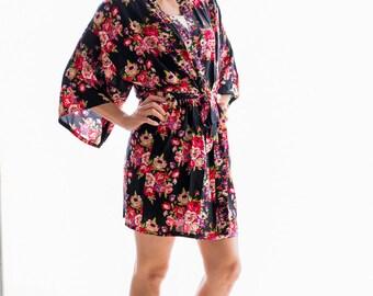 Black Floral Robe-Cotton,Bridesmaid Gift,Bridesmaid Robe,Bridal Shower Gift,Wedding Robe,Maternity/Plus Size/Children's Robe,Wedding Robe
