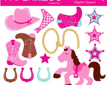 Cowgirl, Western, CLIP ART Set by Paper Zoo Printables