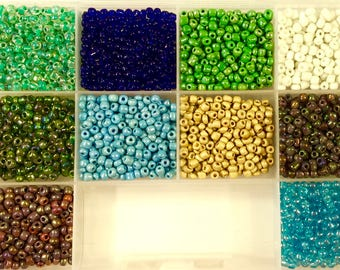 6/0 Seed Bead Kit, 10 Colors, 6/0 Seed Beads, Seedbeads, Craft Supplies, Jewelry Supplies