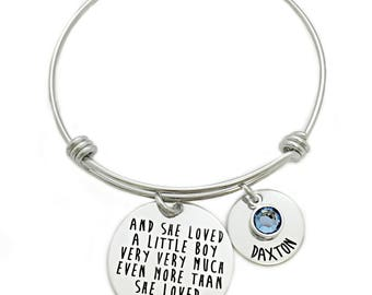 Personalized And She Loved A Little Boy Very Very Much Bracelet - Custom Jewelry - Bangle Bracelet - Mom Jewelry - Gift for Mom - Mother