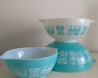 Vintage turquoise and white pyrex mixing bowls, vintage  mid century pyrex bowls large and medium small bowls by herminas cottage