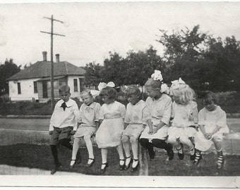 Old Photo Children Sitting on Fence Dresses Hair Bows Girls Boys 1920s Photograph Snapshot vintage