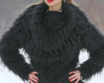 Outstanding fuzzy black hand knitted mohair cowlneck sweater, designed by SuperTanya