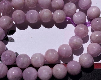 """SALE Natural Pink Kunzite Smooth round beads 8.5 mm ,Grade A, 15"""" long strand"""
