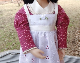 """16"""" Doll Clothes Regency Style Dress, Apron and Cap Fits A Girl For All Time Dolls"""
